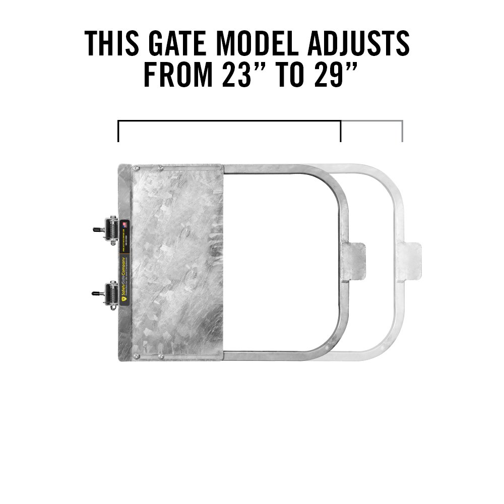 Galvanized Self-Closing Gate for Square or Round Post Mount 23-29'' • 100% USA Made