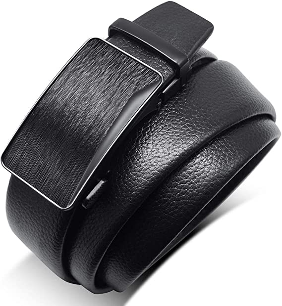 DENGDAI Belt Mens Leather Smooth Buckle Belt Straps