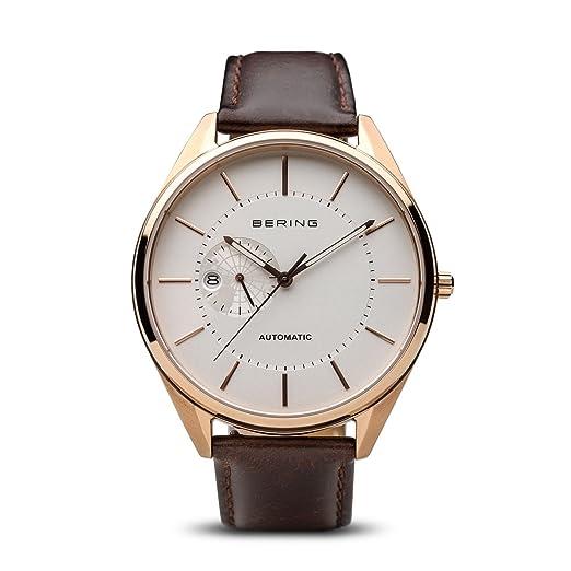 BERING Reloj Analogico para Hombre de Automático con Correa en Cuero 16243-564: Amazon.es: Relojes