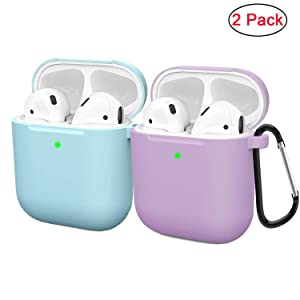 Compatible AirPods Case Cover Silicone Protective Skin for Apple Airpod Case 2&1 (2 Pack) Blue/Purple