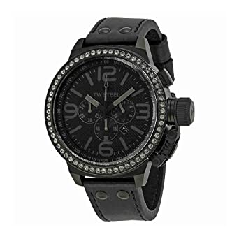 6ac09516ac5 Image Unavailable. Image not available for. Color  TW Steel Canteen 50mm  Chronograph Black Dial Black PVD Mens Watch TW913