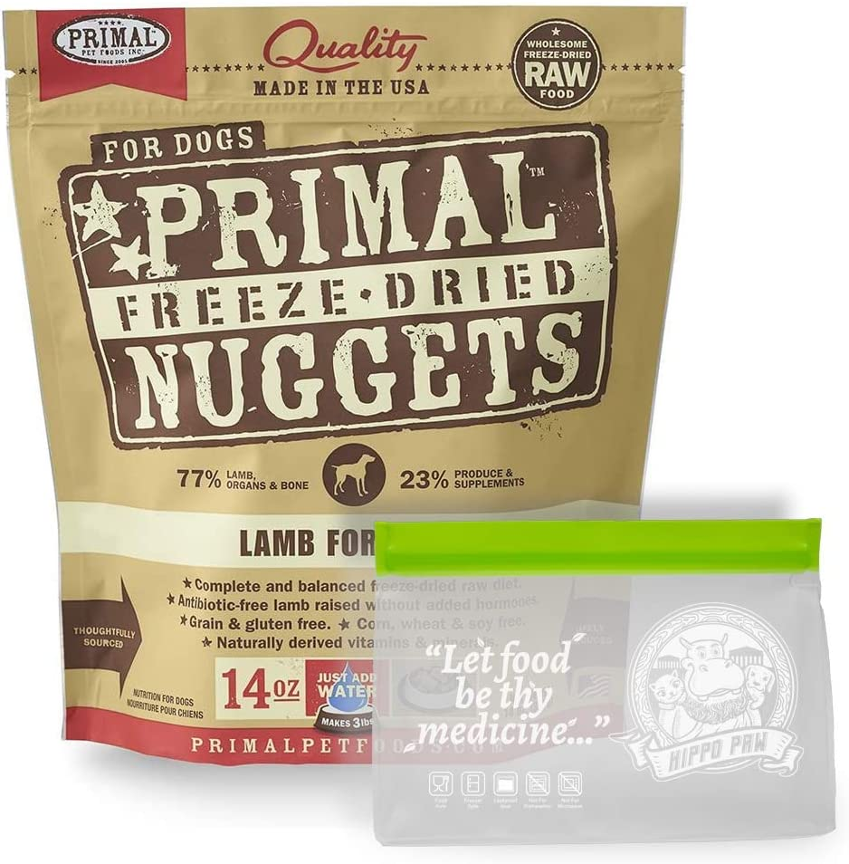 Primal Freeze Dried Dog Food 14 oz with Hippo Paw BPA Free Reusable Food Storage Bag (Ziplock and Leakproof)