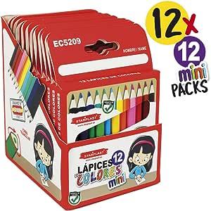 Starplast Pack Eco 24 Lápices de Colores Libres de Madera, 12 Lápices de Colores Pastel + Portalápiz de Regalo para Uso Escolar. (PACK MINI X12): Amazon.es: Oficina y papelería