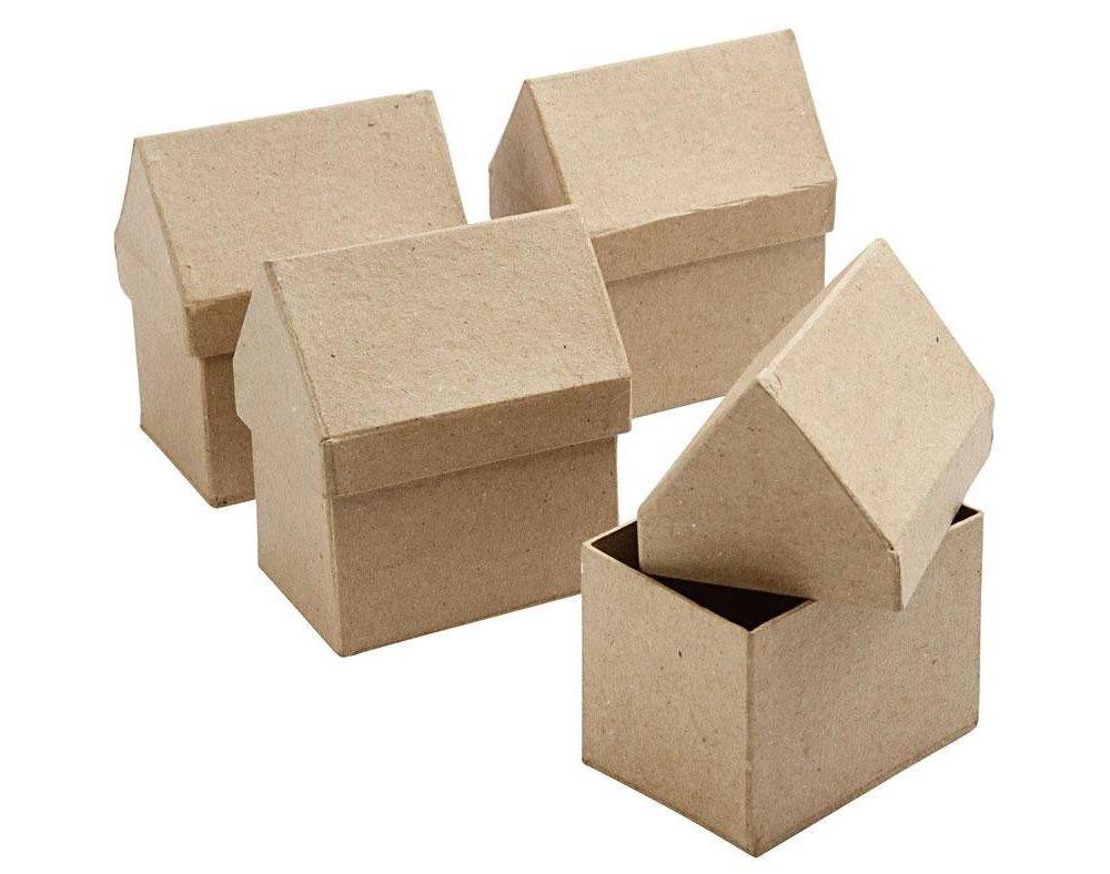 4 Paper Mache House Shaped Boxes to Decorate 10.5x6x8.5cm | Papier Mache Boxes Crafty Capers