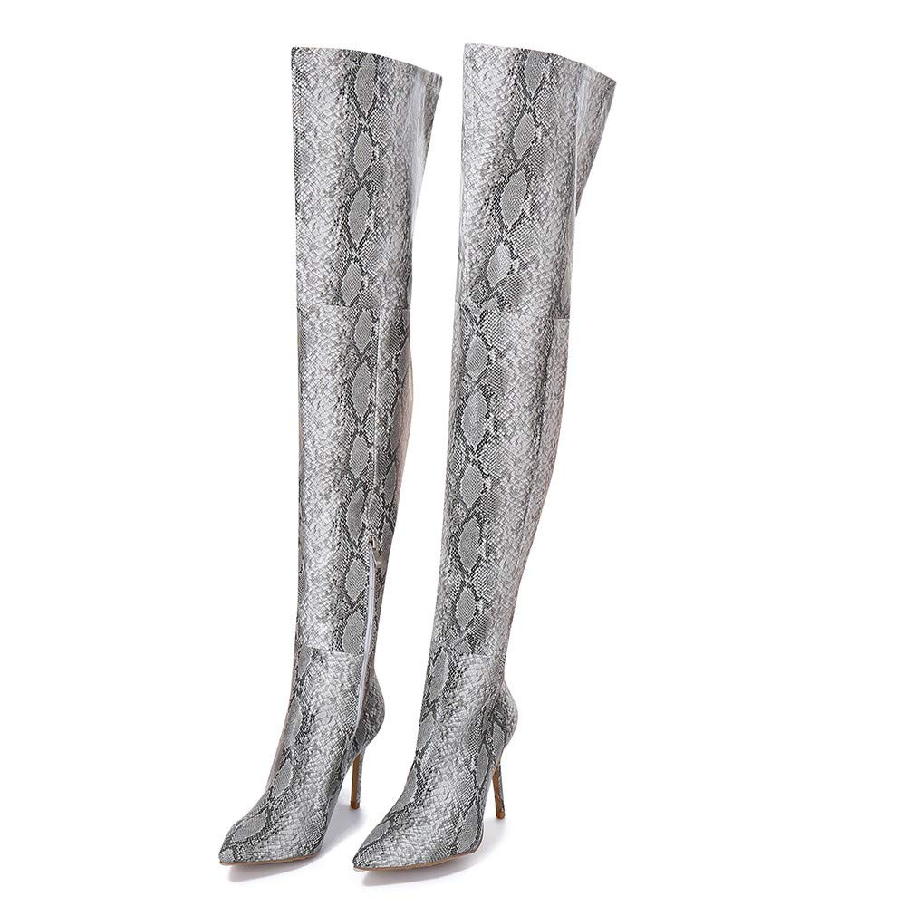 RedBrowm Over The Knee Boots Women Snake Shoes Finger Pointed Fine High Heels Long Boots shoes-1241