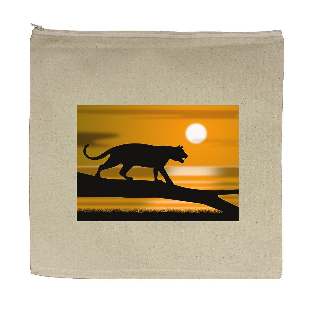 Canvas Zipper Pouch Tote Bag 5.5''X7.5'' Tiger Tree Represents Wildlife Animals