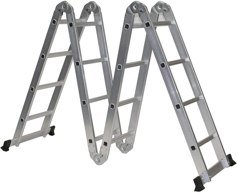 Escalera plegable multiusos de aluminio extensible con andamio y bandeja de herramientas, para biblioteca, ambiente y uso doméstico: Amazon.es: Bricolaje y herramientas