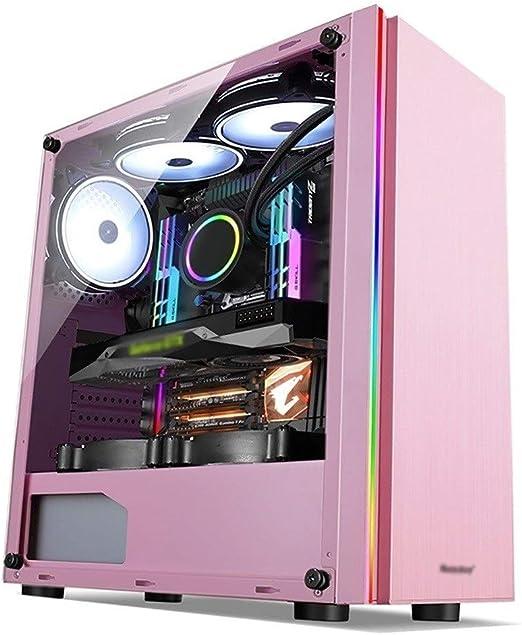 WSNBB Panel De Rosa ATX Semitorre Caja De La PC del Juego, El Panel Lateral De Vidrio Acrílico Transparente Completa, Y RGB Frontal Magnética Filtro De Polvo, Listo Refrigeración por Agua: Amazon.es: