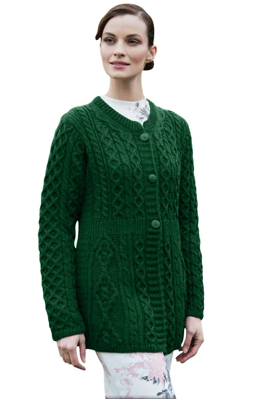 100% Irish Merino Wool Ladies A Line Aran Sweater by Carriag Donn X Large Green
