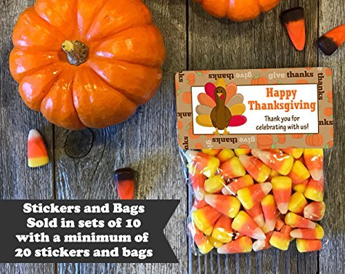 Happy Thanksgiving Treat Bags and Stickers, Set of 20, Turkey -