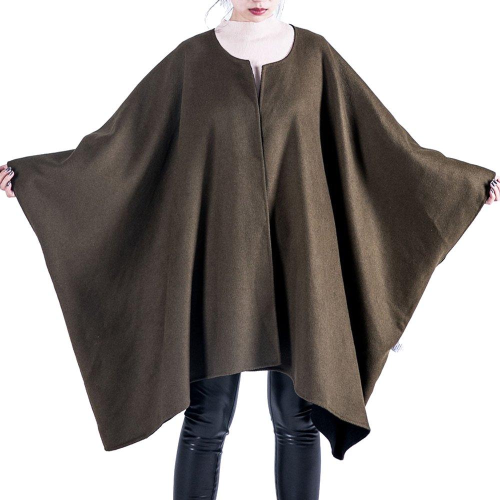 OYEAHGIRL Winter Wool Coats For Women Cloak (Army Green)