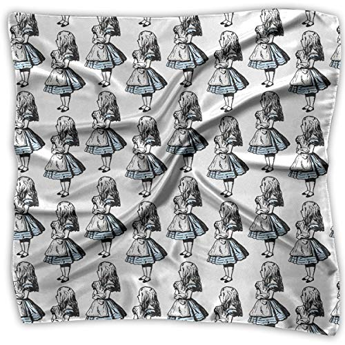 Square Satin Scarf Small Alice In Wonderland Silk Like Lightweight Bandanas Head Wrap Neck Shawl -