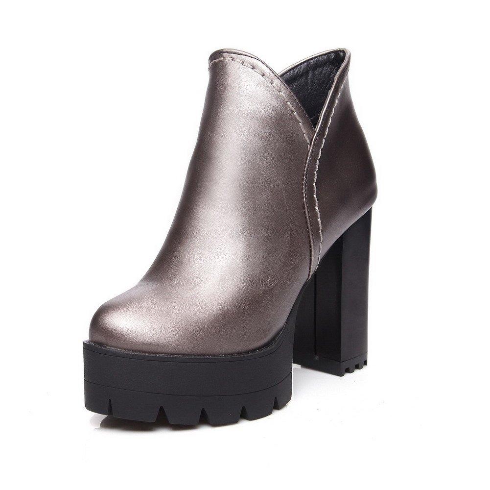 VogueZone009 Damen Hoher Absatz Knöchel Hohe Rein Reißverschluss Stiefel mit Schleife, Schwarz, 40