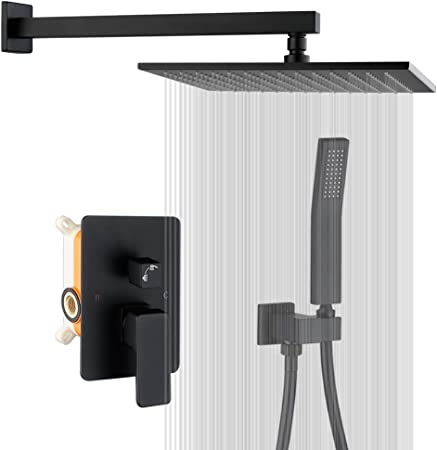 12 Rainfall Shower Head and Multi-function Hand Held Luxury Shower Combo Set Rain Shower System Wall-Mounted. Modern Shower Faucet Set with Rough-in Valve 12-inch Shower Head, Matte Black Ravinte