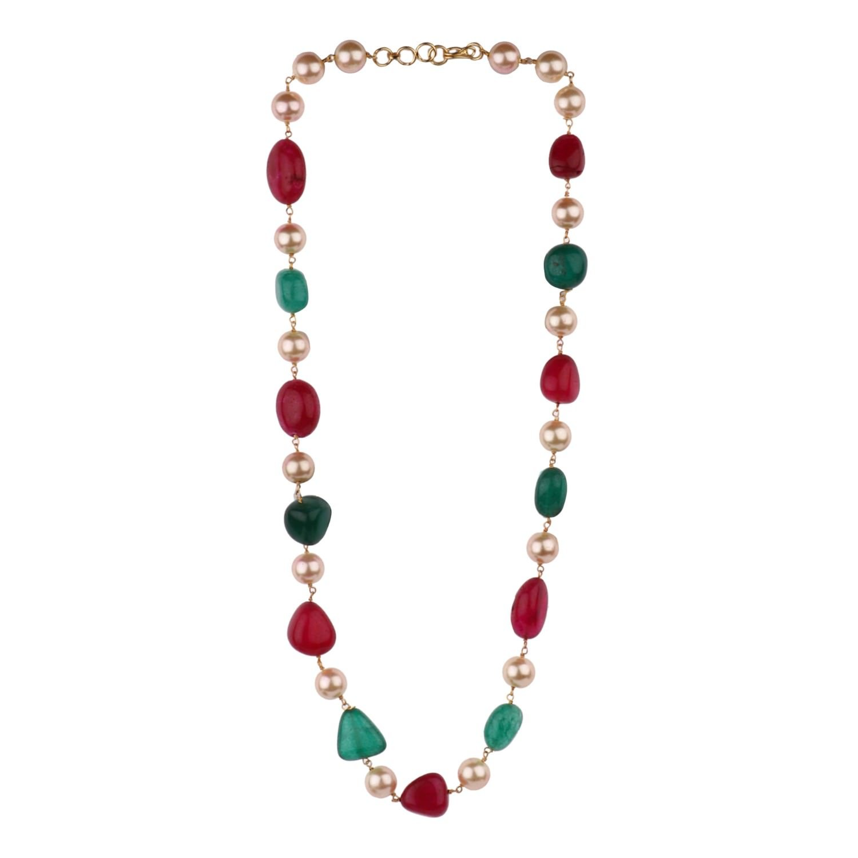 Efulgenz Indian Bollywood Tourmaline Pearl Beaded Strand Bridal Necklace Wedding Jewelry for Women Jaipur Art Jewellery MNT397