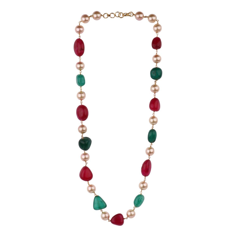 Efulgenz Indian Bollywood Ruby Emerald Pearl Beaded Strand Bridal Necklace Wedding Jewelry for Women