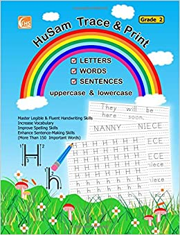Book HuSam Trace and Print : LETTERS , WORDS , SENTENCES( uppercase and lowercase ) ( Grade 2 ) ( handwriting tracing printing alphabet practice workbook )