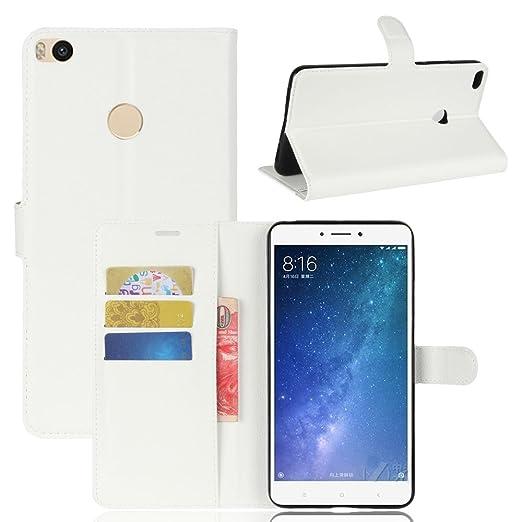 Guran® Funda de Cuero PU Para Xiaomi MAX 2 Smartphone Función de Soporte con Ranura para Tarjetas Flip Case Cover Caso-blanco