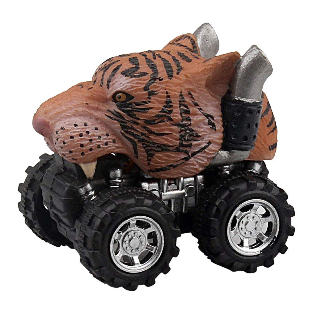 Toddler Dinosaur Pull Back Cars Learning Educational Toys Novelty Creative Friction Powered Mini Vehicle Fun Inexpensive Eagle Tiger Small Perfect Cheap Model Big Tire Wheel Dino Car (H)