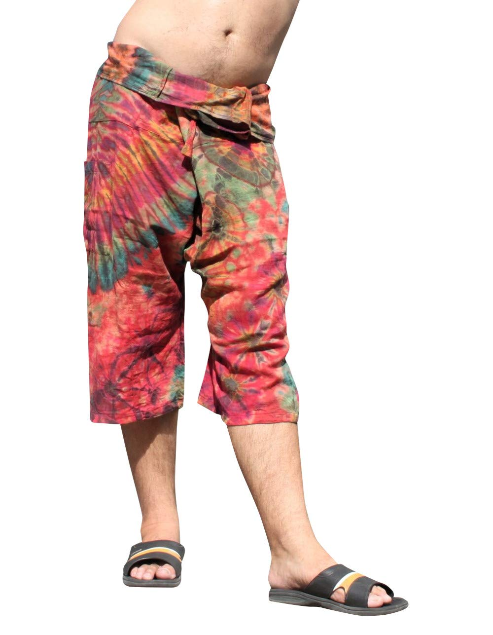 Full Funk Cotton Tie Dyed Natural Colorful Thai Fisherman Wrap 3/4 Leg Pants, Small, Wood Brown Red by Full Funk