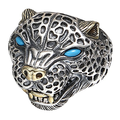 Sterling Silver Leopard - Vintage Black 925 Sterling Silver Leopard Head Ring Jewelry with Turquoise for Men Adjustable Size 8.5-11.5