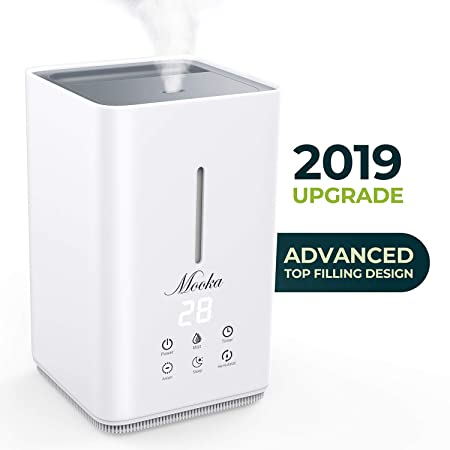 Mooka Top Fill Humidifiers, 2019 Upgraded Air Humidifier with Humidity Control Display, 4L Open Tank, Anion Generator, Ultrasonic Cool Mist Humidifier for Bedroom, Baby, Nursery, Office