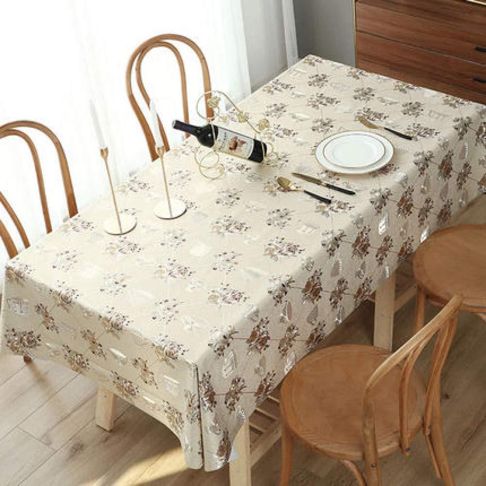 WJJYTX tischdecke Plastik, Modern/Protector Textile Backing Runder rechteckiger Tischtuchstempeldruck (beige @ 80 * 120