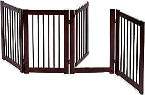 PETSITE Wooden Freestanding Pet Gate, Extra Wide Walk Through Dog Gate with Door for Doorways Halls Stairs & Home, Cherry