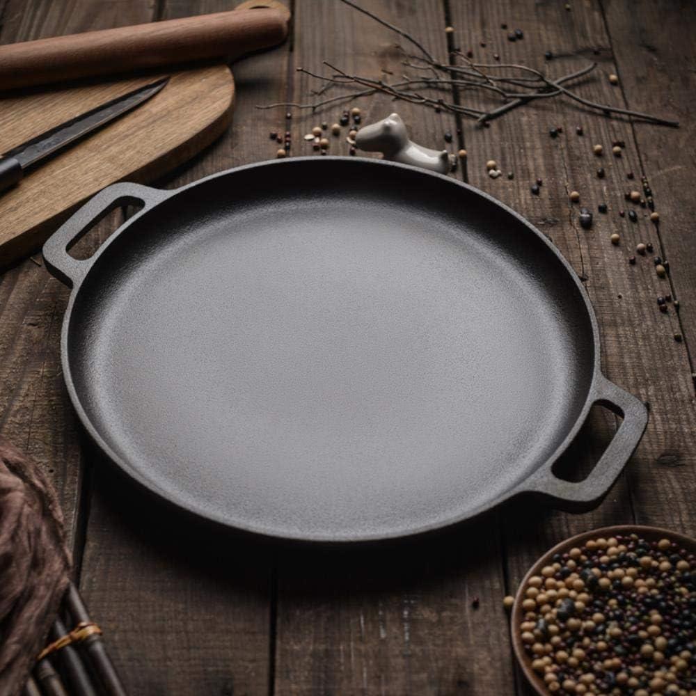 PKJP 30cm / 33cm / 35cmParrilla para Asar BBQ Asar Carne Asador Redondo Olla para cocinar Panqueque Planchas Planas, Negro, 30cm