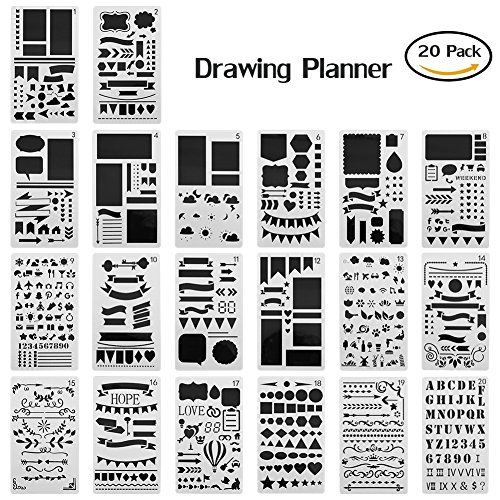 Gunsamg Stencil Set - 20 Piece Stencil Drawing Kit and Over 150 Shapes - Ideal Educational Toy and Creativity Kit, The Perfect Kids Gift for Any - For Ideal Shape Face Men
