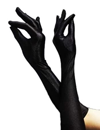 bf4be4dfc3020f HAAC Handschuhe lang glänzend Farbe schwarz für Halloween Fasching Karneval  Party