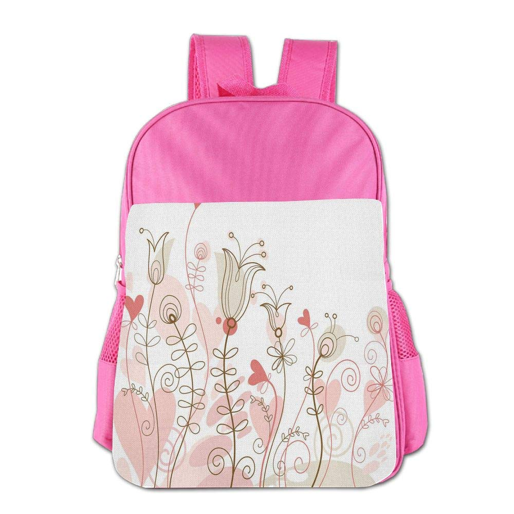 Haixia Kids' Boys'&Girls' Bookbags Doodle Wedding Themed Floral Illustration with Cute Little Hearts Blooming Abstract Art Decorative Light Pink