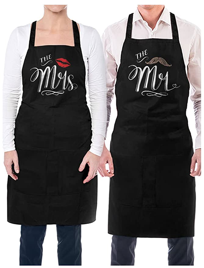 Mr. and Mrs. Aprons with Mustache and Red Lips Gift for Couples Wedding, Anniversary, Newlywed His & Hers Cooking Chef Apron One Size Black