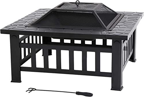 Outdoor Fire Pit 32 inch Square Metal Firepit