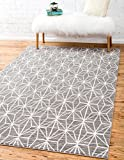 Unique Loom Uptown Collection by Jill Zarin Collection Geometric Modern Gray Area Rug (4' 0 x 6' 0)