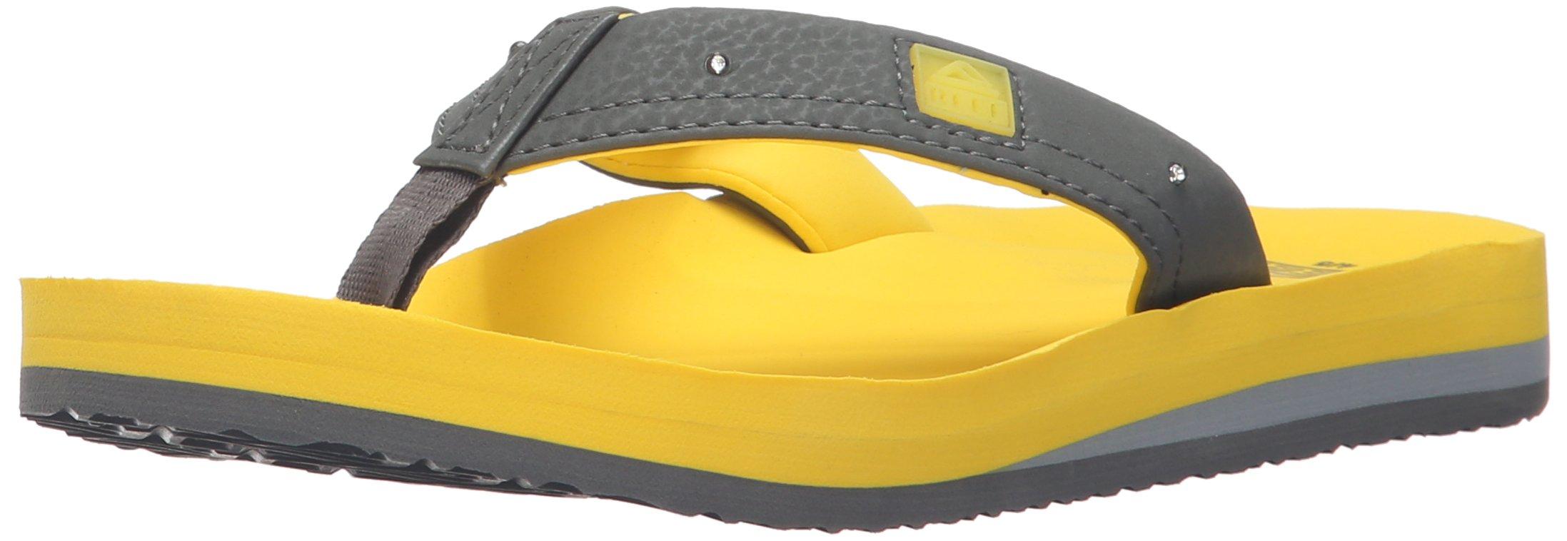 Reef Boys' AHI Lights-K Sandal, Yellow/Grey, 4/5 M US Big Kid
