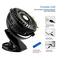 Unifree Rechargeable Portable USB Clip Mini Fan 360 Degree Rotation for Desktop/Laptop/Table (Color May Vary)