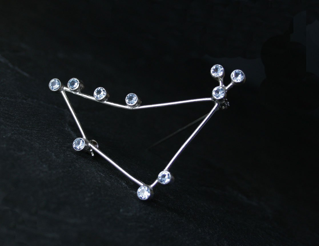 CAPRICORNUS Constellation Brooch - sterling silver and synthetic blue spinel - Ready to ship