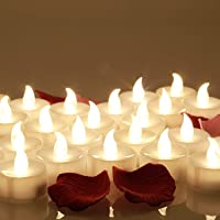 24 Velas LED, Más de 100 Horas de Iluminación y Decoración de Pétalos de Rosa, Velas Electrónicas con Baterías…