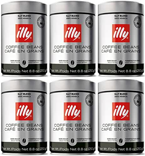 Illy Scuro Whole Bean Coffee Dark Roast- Pack of Six 8.8 oz. Coffee Cans