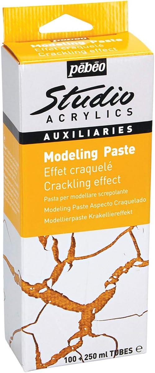 PEBEO Studio Acrylics Auxiliaries Kit de Pasta para modelar Efecto Agrietado Color Blanco