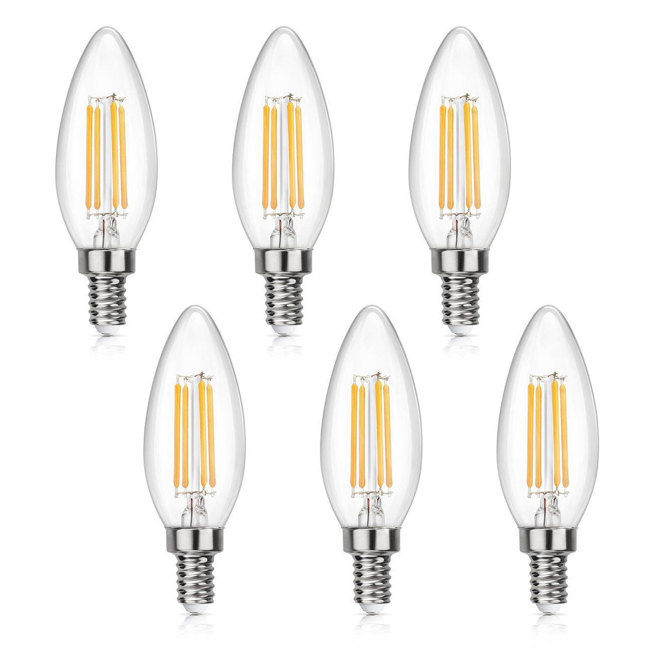 SHINE HAI Candelabra LED Filament Bulbs 40W Equivalent, 2700K Warm White Chandelier B11 LED Bulb E12 Base Non-dimmable Decorative Candle Light Bulb, Pack of 6
