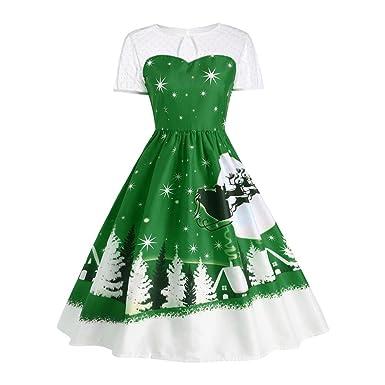 3bcca34b7ba8 Bluestercool Women's Noel Christmas Snow-Scene Print Short Sleeve A-Line  Swing Dress,