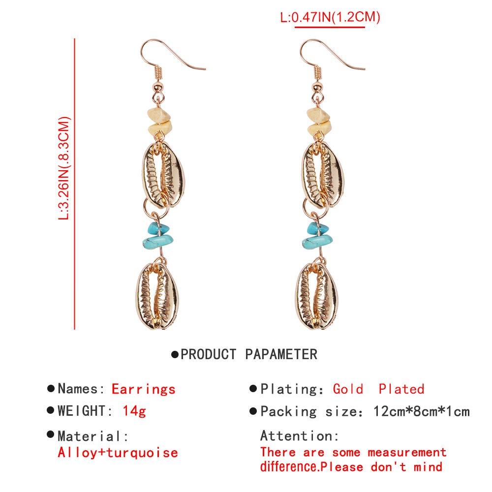 YAZILIND Drop Earrings Alloy Lips-shape Pendant Turquoise Fishhook Earrings Women Girl Symbolizes Happiness and Renewal