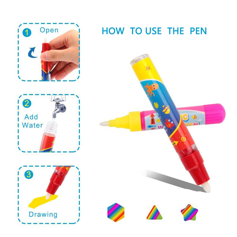 / 4 Color Water Drawing Printing Board Pad For Kids//Toddlers Painting Coloring,Large Size 31.5 X 23.6Inch With 2 Magic Pens Aqua Magic doodle Mat