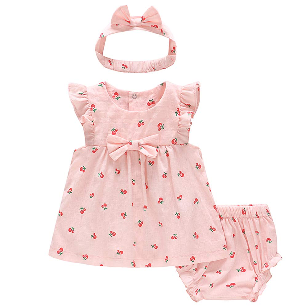 Feidoog Baby Girls Dress+Shorts Outfit with Bowknot Headband,Pink,12-18M
