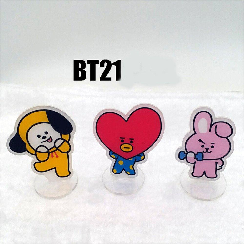 DISCOVERY Bonita Tarjeta de pie de Dibujos Animados BTS-BT21 con Forma de Hombre Arcylic Bangtan para niños Regalo Caliente para los Fans, 8, Talla única: ...