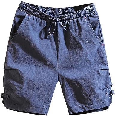 OPAKY Pantalones Cortos de Playa de Algodón de Lino Puro Color ...