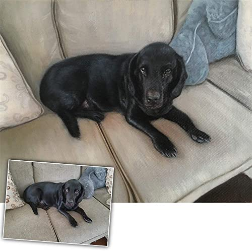 ENGLANT Custom Hand Painted Portrait Painting from Your Photo, Personalized Painting Animal Wall Art, Customize Photo to Canvas Oil Painting for Dog, Pig, Cat Pet