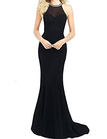 LovingDress Womens Prom Dresses Spandex Scoop Mermaid with Beading Dress Size 4 US Black